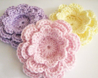 Crochet Flowers - 3 Large, Layered Pastel Crochet Flowers