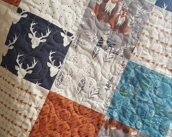 Woodland Baby/Toddler Quilt, Hello Bear Quilt, Deer Quilt, Forest Animal Quilt, Baby Bedding