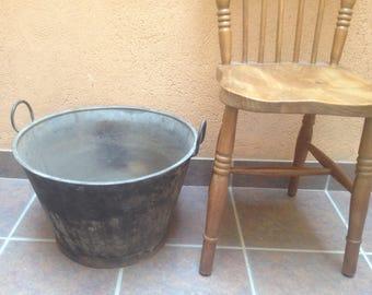Large deep vintage galvanised tub/bin/bowl/planter.