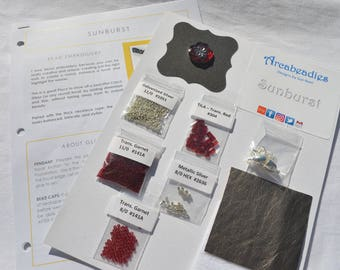 BEADWORK KIT: Sunburst Bead Embroidery Necklace (Red/Silver)