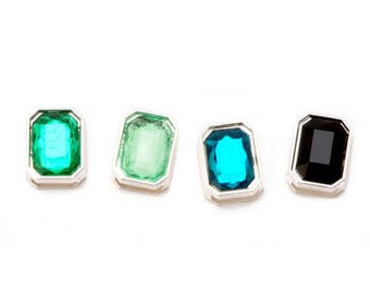 Silver Gem Sliders - Green Mix - 4 pieces