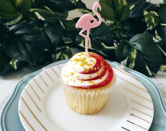 Flamingo Appetizer Picks, Cupcake Toppers, Flamingos, Cupcakes, Bridal Shower Decor, Tropical Party, Acrylic, Laser Cut, 4 Ct.