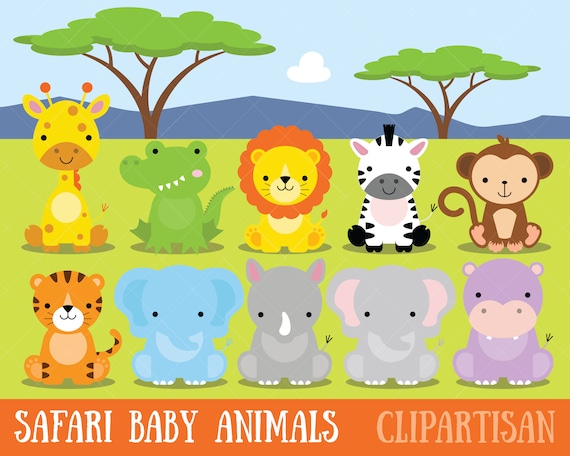 safari baby animals clipart jungle animals clipart zoo rh etsy com baby jungle animals clipart free clipart baby jungle animals