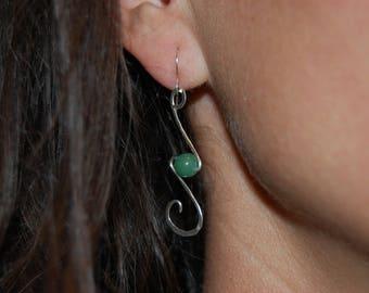 earring Pearl, sterling silver jewelry, jewel bead aventurineboucle green pearl earrings, dangle earrings, silver jewelry