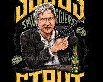 Solo's Stout Parody Inspired Beer Label by JP Perez and Barrett Biggers (KoLabs) Premium Quality Giclee Archival Print