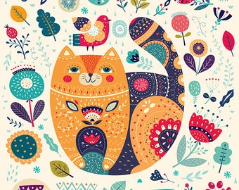 Amazing Art Print with beautiful CAT  and floral elements. Fine art PRINT. Beautiful print for living room, bedroom.