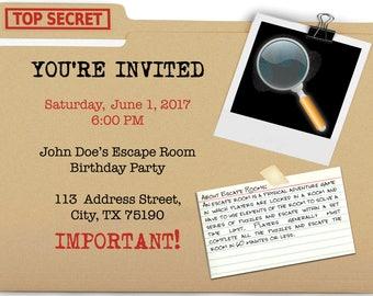 Escape Room Party Invite
