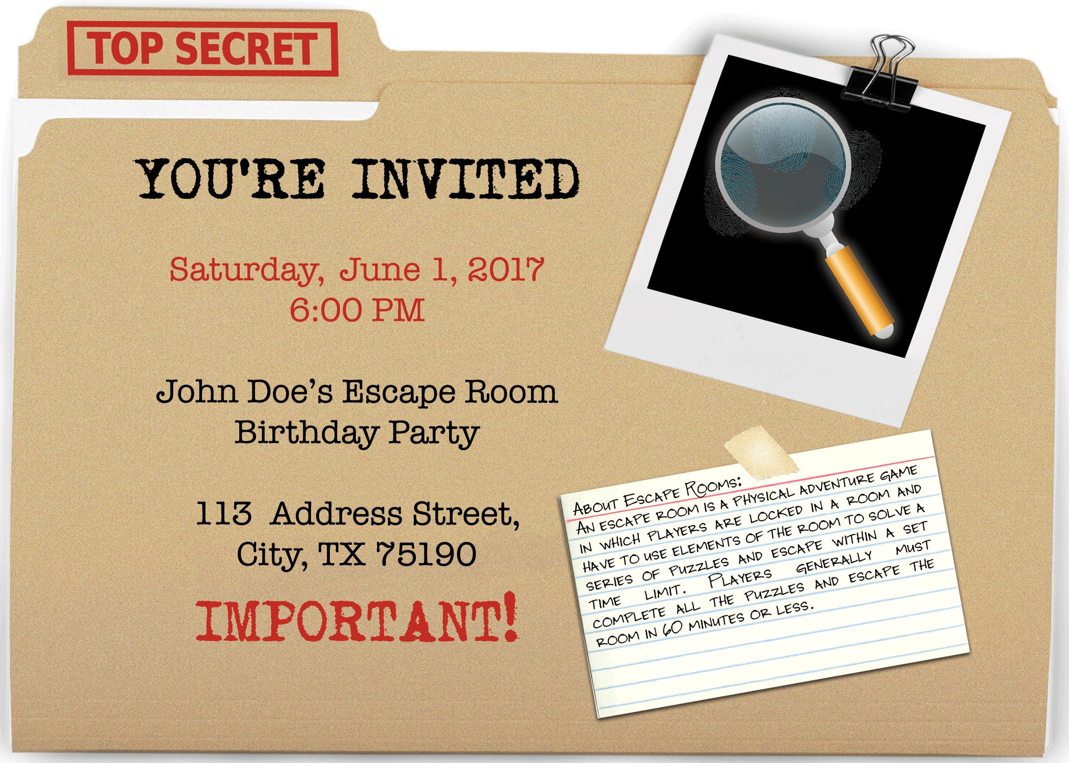 Escape Room Party Invite