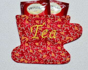 Tea Bag Wallet - Tea Cup - Yellow-Orange Tulips on Red Floral Tea Cup Tea Bag Wallet/Holder for Your Purse