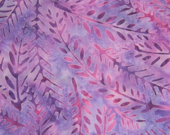 Incredible Purple Cotton Batik Fabric with Fern Fronds