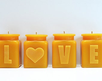 LOVE Valentine Candle Set, Beeswax Candles, Seasonal Home Decor