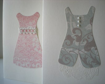 Handmade Cards Set of 2 Lovely Frocks Dresses Pretty Romantic Pink Blue Collage Cut Paper