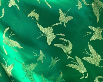 Katalina GREEN Butterfly Brocade Chinese Satin Fabric by the Yard - 10036