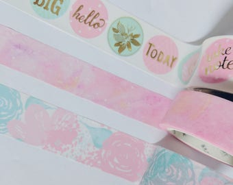 Pink and Green Themed Washi Tape Samples