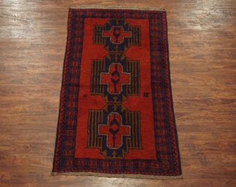 Afghan 4X6 Tribal Hand-Knotted Wool Area Rug - 1970's Carpet (3.6 x 6.6)
