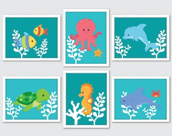 Sea Life Nursery Art, Set Of 6 Prints, Sea Creature Decor, Under Sea Creatures Kids Bathroom Art, Sea Nursery Wall Art, Ocean Themed Nursery