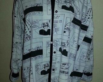 80's Black &  White Blouse  -SORREL BRAND- Long Shirt- Size L - Runs Large-Free Shipping!