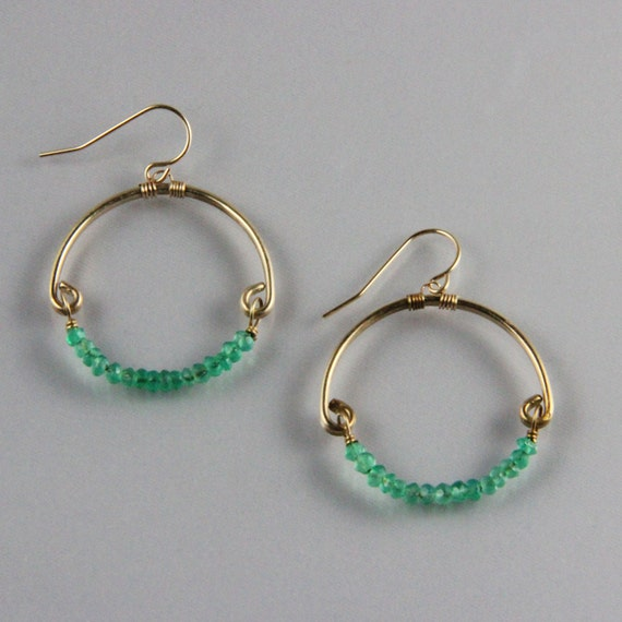 Hammered Bronze and gemstone Full Circle earrings