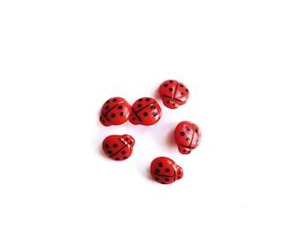 6 Ladybug Buttons, Red, Black, Vintage, Kids Buttons