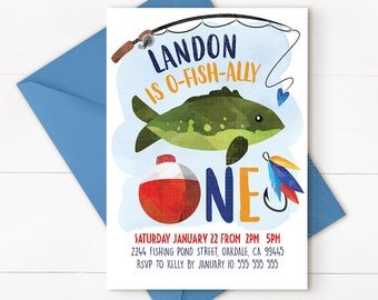 Fishing invitation, fishing party, fishing first birthday, fishing birthday, fishing party invitation, fishing birthday invitation