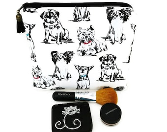 Small cosmetic bag, Cotton makeup bag, Cute cosmetic bag, Make up bag, Travel toiletry bag, Vegan bag, Dog purse, Toiletry bag, Zipper pouch
