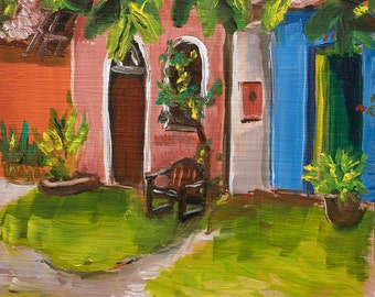 "Small Original Oil Painting ""In Brazil"" Colorful Tropical Landscape Vignette"