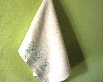 Linen Tea Towel Embroidered by Hand  Three Blue Blind Mice.