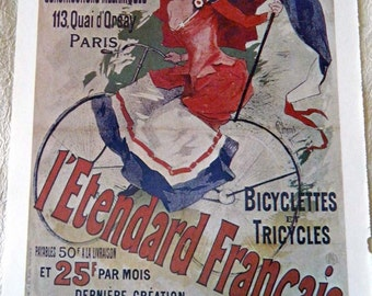 Vintage Bicycle Poster 1800s French Bicyclettes or  Victor Bicycles Poster Size Book Plate