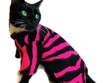 Hot Pink and Black Fleece Cat Pajamas-Cat Onesie-Cat Jumper-Pajamas for Cats-Clothes-Cat Pajamas-Cat Clothing-Fleece Cat Onesie