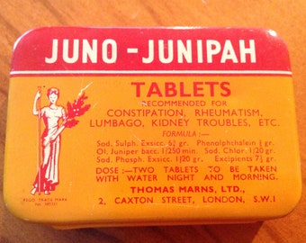 Look What I Found! Vintage Juno-Junipah Tablets Collectable Tin with Hinged Lid - 1950's Cure-All from UK