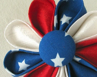 Patriotic American Flag Silk Kanzashi Flower Pin - Boutonniere in Red White and Blue - Handmade in USA