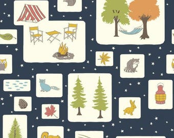 Fat Quarter Camping Fabric Campout Blocks Birch Fabrics Organic Cotton Camp Sur 3 Collection Jay-Cyn Designs Camping Quilt Fabric Woodland