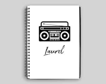 Boombox Notebook ~ Personalized Boombox Journal ~ Diary ~ Notebook ~ Custom Gift ~ Personalized Gift