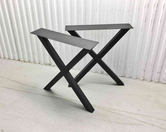 The X Style Raw Black Steel Tube Metal Dining Table Legs, Desk