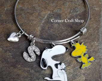 Snoopy and Woodstock Adjustable Bangle Bracelet with puffy heart charm and Personalized Rhinestone Initial Charm Peanuts Gang