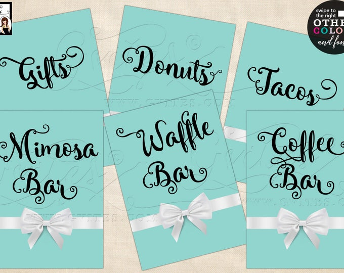 """Personalized Party signs, first birthday, gifts, coffee bar, gifts sign, mimosa bar Max char 20. Set of 6- {4x6"""" or 5x7""""} Digital File Only!"""