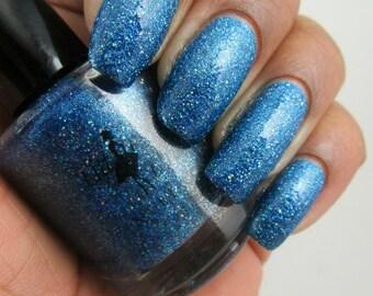 Alluring Azure Dazzler - blue glitter nail polish, blue nail polish