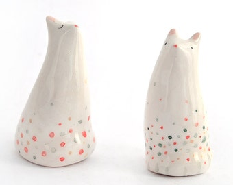 Pair of Little Ceramic Miniatures in White Clay  Cat Shaped and Decorated with Multicolors Dots. Ready To Ship