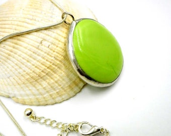 Lime Green Glass Jewel Pendant