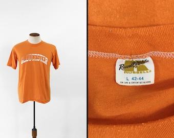 Vintage Gloucester MA T-shirt Orange 1980s Sports Tee Made in USA - Medium