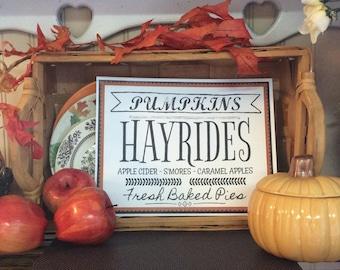 Pumpkins Hayrides Apple Cider S'mores Fresh Baked Pies Printable Wall Art Fall