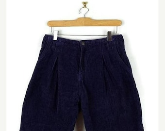 ON SALE Vintage Purple Corduroy High waist Flare Shorts from 90's/W27*