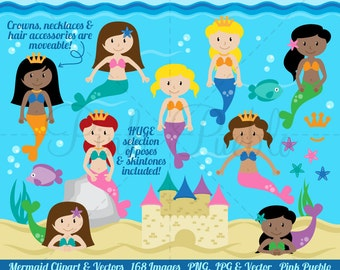 Mermaid Clipart Clip Art, Mermaids Clip Art Clipart Vectors - Commercial and Personal Use