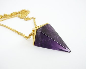 Amethyst Necklace genuine amethyst pendant Crystal Stone Necklace gemstone Pyramid necklace healing crystal necklace for women Necklace