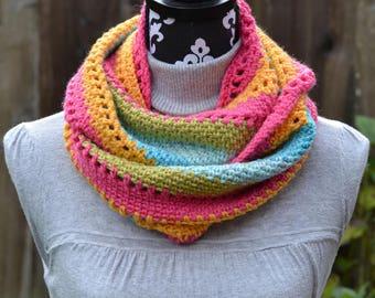 Rainbow Stripe Cowl Crochet Ready to Ship