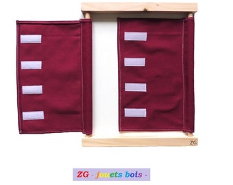 Dressing Montessori frame, scratches / Velcro, colorful 100% cotton fabric, wood, washable, practical, confidence and independence, handmade