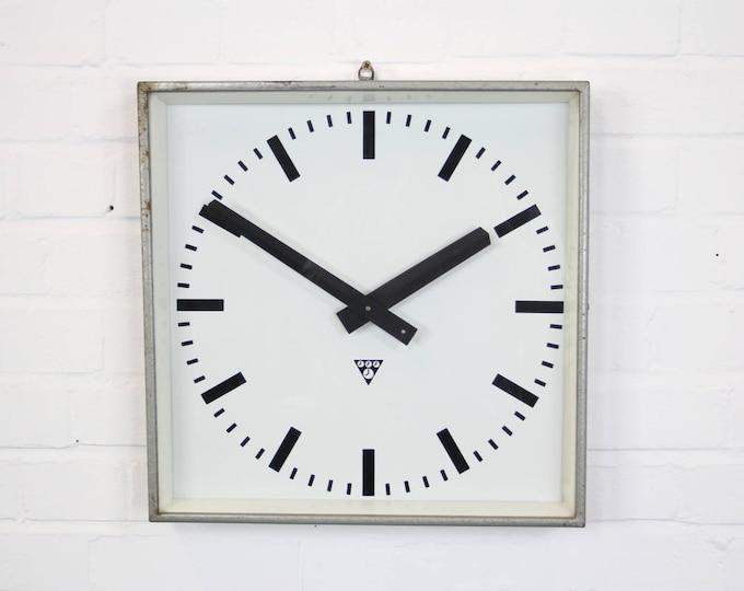 Large Grey Industrial Factory Clocks By Pragotron Circa 1960's