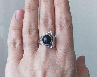 Vintage Modernist Sterling and Onyx Ring