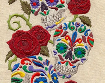 Calavera Sweet Skulls Mexican Culture Dia De Los Muertos Embroidered Flour Sack Hand Towel