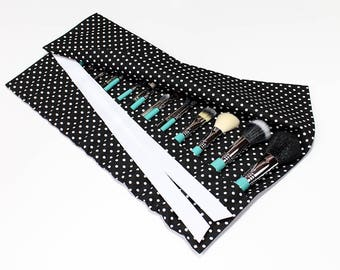 Black and White Polka Dot print Large Makeup Brush Roll Holder Organizer - In Stock Ready To Ship